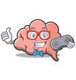 gamer brain character cartoon mascot vector image vector image