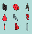 geometry color outline isometric icons vector image vector image