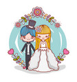 girl and boy couple marriage with flowers plants vector image vector image
