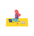 girl having rest sitting on rug in park cartoon vector image vector image