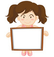 girl holding whiteboard in hands vector image vector image