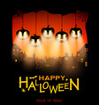 halloween design pumpkins with light from eyes on vector image