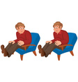 happy cartoon man sitting in blue chair vector image vector image