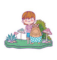 little bear teddy with boy in the landscape vector image vector image