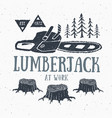 lumberjack at work with chainsaw vintage label vector image