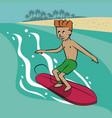 man surfing cartoon vector image