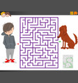 maze game with cartoon boy and dog character vector image vector image