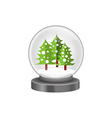 modern snow globe with pine trees vector image vector image