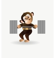Monkey is engaged with a barbell 1 vector image vector image