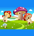mushroom houses vector image