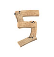 number 5 wood board font five symbol plank and vector image
