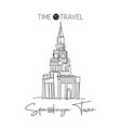 one continuous line drawing spasskaya tower vector image