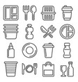 plastic tableware and packaging icons set line vector image vector image