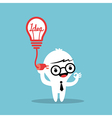 plugging light bulb with cable into head vector image vector image