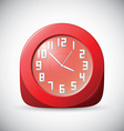 Red realistic 12 hour analog clock on grey vector image