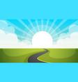 road cartoon paper landscape vector image