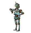 robot looks at wristwatch late time vector image vector image