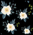 seamless floral pattern with a cute white peony vector image vector image