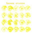 set lemon fruit stamps lemon marks on paper vector image vector image