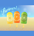 set of ice cream with fruit on a sandy beach vector image vector image
