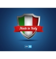 shield with ribbon made in Italy on the blue vector image vector image