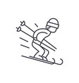 snow skiing line icon concept snow skiing vector image vector image