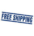 square grunge blue free shipping stamp vector image vector image