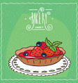 tartlet with fresh strawberries on lacy napkin vector image