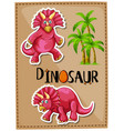 triceratops and coconut trees on poster vector image vector image
