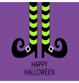 Witch legs with striped socks and shoes Happy vector image vector image