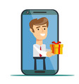 young man from smartphone screen sending present vector image vector image