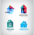 set of origami and faceted house logos vector image