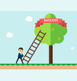 businessman reaching to the success ribbon vector image