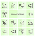 14 broadcasting icons vector image vector image