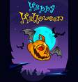 a postcard of cartoon halloween flying pumpkin vector image