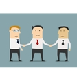 Businessman shakes hands two partners vector image
