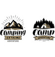 camping camp logo or label outdoor recreation vector image vector image