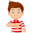 Cartoon boy giving thumb down vector image