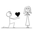 cartoon of man on knees giving heart to his woman vector image