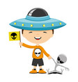 cheerful child with an alien toy vector image vector image