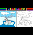 coloring book with seal cartoon vector image vector image