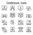 conference meeting seminar icon set in thin line vector image
