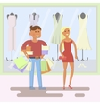 couple on shopping mall background vector image vector image