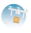 Delivery drone with package vector image