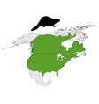Distribution of canadian beaver vector image vector image