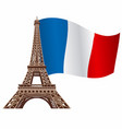 eiffel tower with flag vector image vector image