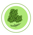 elegant rose logo for beauty salon modern green vector image vector image
