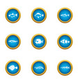 fish fillet icons set flat style vector image vector image