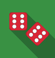 Flat design dice icon with long shadow vector image vector image