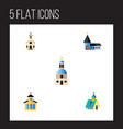 flat icon building set of architecture church vector image vector image
